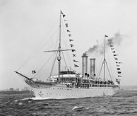 Prinzessin Victoria Luise, the first cruise ship of the world, launched in June 1900 in Hamburg (Germany)