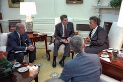 Eugenia Charles, Prime Minister 1980-95, discussing the situation in Grenada in 1983 with US President Ronald Reagan
