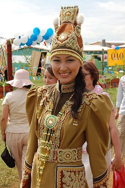 A Yakut woman in traditional dress