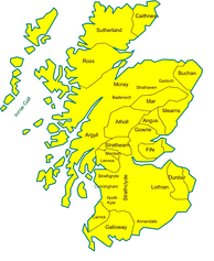 Map of comital and other Lordships in Medieval Scotland, c. 1230