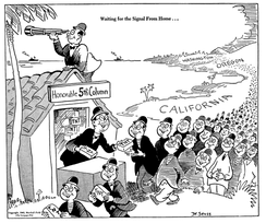 Dr. Seuss cartoon in PM dated February 13, 1942, with the caption 'Waiting for the Signal from Home'