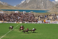 Polo in progress with the shandur lake in background, Shandur Ghizer.
