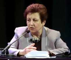 Shirin Ebadi during a lecture – organized by University of Amsterdam, 7 November 2011