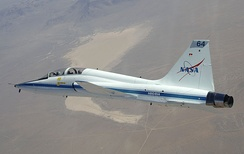 NASA Dryden's T-38 in flight over Cuddeback Dry Lake in Southern California
