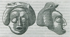 Front and side views of a tragic mask