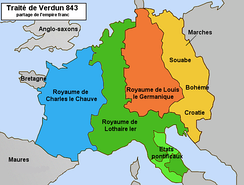 "Following the Treaty of Verdun, Cambrai found itself as a ""median"" border city of the kingdom of Lothair I with the western lands of Charles the Bald"