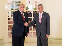 Prime Minister Lee met with President Donald Trump of the United States a day before the historic 2018 North Korea–United States summit held in Singapore.