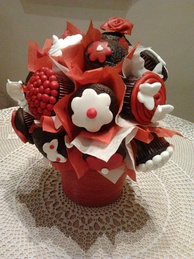 Valentine's Day themed bouquet of cupcakes