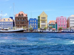 Dutch architecture along Willemstad's harbor