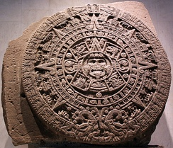 The Aztec Sun Stone, also known as the Aztec Calendar Stone, at National Museum of Anthropology, Mexico City.