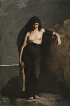 Sappho (1877) by Charles Mengin (1853–1933). One tradition claims that Sappho committed suicide by jumping off the Leucadian cliff.[26]