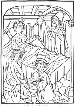 An early medical illustration of people with syphilis, Vienna, 1498