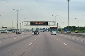 Highway 401 with collector and express lanes in Mississauga, Ontario, Canada