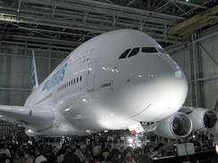 "The first completed A380 at the ""A380 Reveal"" event in Toulouse, France, 18 January 2005"