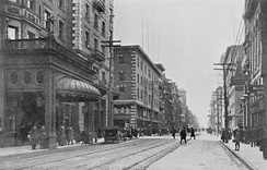 King Street in 1908, with the King Edward Hotel on the left