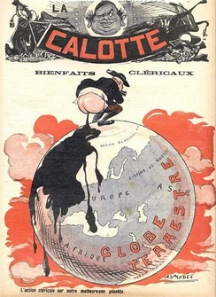 Illustration in the French anti-clerical magazine La Calotte in 1908.