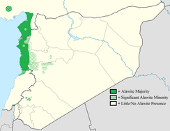 Map showing the distribution (2012) of Alawites in the Northern Levant.
