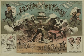Cartoon depicting the battle between Cornell and the Tammany Hall machine