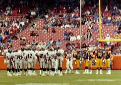 The Rams hosting the Atlanta Falcons at Anaheim Stadium in 1991