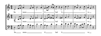 "Portion of Du Fay's setting of Ave maris stella, in fauxbourdon. The top line is a paraphrase of the chant; the middle line, designated ""fauxbourdon"", (not written) follows the top line but exactly a perfect fourth below. The bottom line is often, but not always, a sixth below the top line; it is embellished, and reaches cadences on the octave. Play (help·info)"