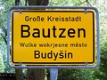 Boundary sign of Bautzen / Budyšin in German and Upper Sorbian language