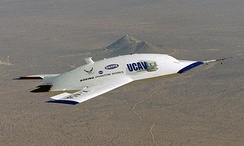 The X-45A UAV, a prototype for the significantly larger X-45C