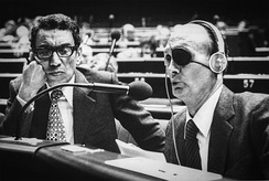 Boutros Boutros-Ghali and Moshe Dayan at the Council of Europe in Strasbourg (October 1979)