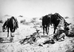 Yeomanry patrol in 1918 during a pause in the desert