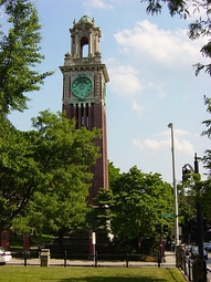 Carrie Tower, built 1904 in English Baroque style, is a memorial to Caroline Mathilde Brown, granddaughter of Nicholas Brown, class of 1786, for whom the University is named