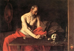 Saint Jerome Writing, by Caravaggio. Held in St John's Co-Cathedral, Valletta.