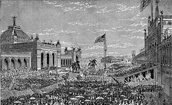 Opening day ceremonies at the Centennial Exposition at Memorial Hall, 1876 – first official World's Fair in the United States