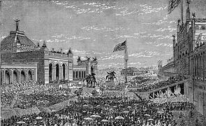 Opening day ceremonies at the Centennial Exhibition at Memorial Hall, 1876 - first World's Fair in the United States