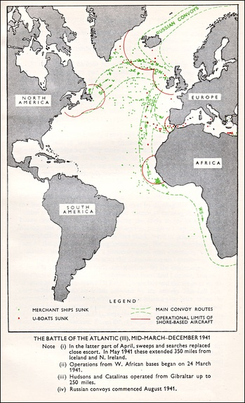 Convoy Routes in the Atlantic Ocean during 1941