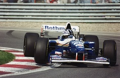 Damon Hill in the FW17 at Montreal in 1995 when he qualified second but retired after 50 race laps due to a gearbox problem