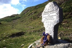 A memorial to the victims of the Doolough Tragedy (30 March 1849). To continue receiving relief, hundreds were instructed to travel many miles in bad weather. A large number died on the journey.