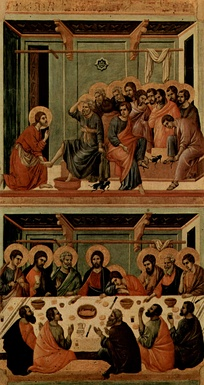 The Washing of Feet and the Supper, from the Maesta by Duccio, 1308–1311. Peter often displays amazement in feet washing depictions, as in John 13:8.