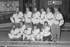 The Dutch speed skating team at the 1988 Winter Olympics. Olympic speed skating events were held at the university's Olympic Oval.
