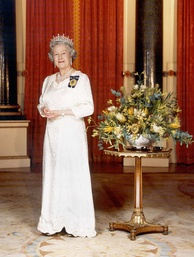 Elizabeth wearing the Girls of Great Britain and Ireland Tiara in an official portrait as Queen of Australia