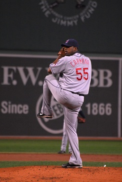 Hernández (Carmona) pitching for the Cleveland Indians in 2008