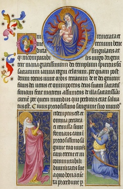 The Virgin Mary and Child, the prophetess Sibyl Tivoli bottom left and the Emperor Augustus in the bottom right, from the Très Riches Heures du duc de Berry. The likeness of Augustus is that of the Byzantine emperor Manuel II Palaiologos[215]