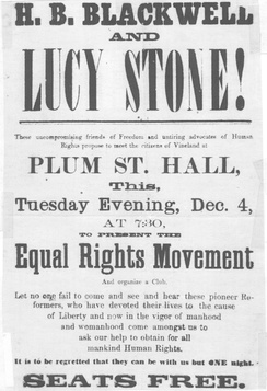 Announcement of Blackwell/Stone speaking engagement in Vineland, New Jersey, in 1866