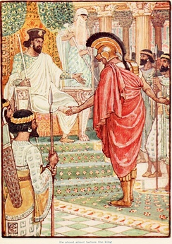 Illustration by Walter Crane showing Themistocles standing silently before King Artaxerxes