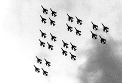 The 24-ship flyover formation, Diamonds on Diamonds, flew at the F-105 retirement at Hill Air Force Base, Utah on 4 June 1983