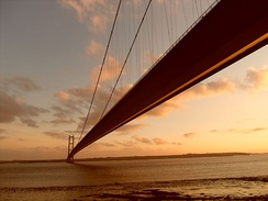 The Humber Bridge connecting North Lincolnshire to the East Riding of Yorkshire