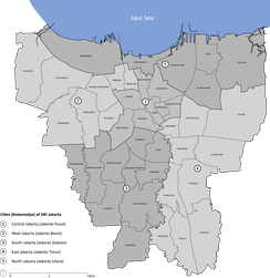 Map of the municipalities (Kota administrasi) in Jakarta province. Each city is divided into districts (Kecamatan).