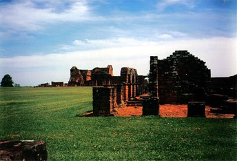 Ruins of La Santisima Trinidad de Parana mission in Paraguay, founded by Jesuits in 1706