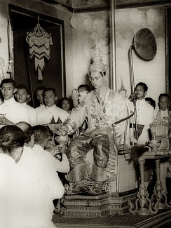 Bhumibol at his coronation at the Grand Palace.
