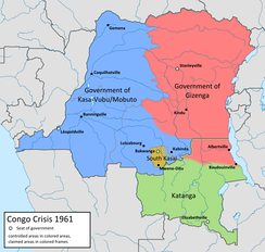 Map of the factions in the Congo in 1961