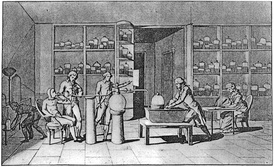 Lavoisier conducting an experiment on respiration in the 1770s