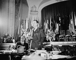 Lester Bowles Pearson presiding at a plenary session of the founding conference of the United Nations Food and Agriculture Organization. October 1945